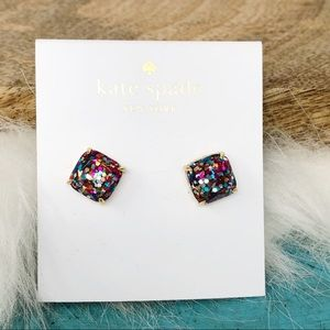 Kate Spade Square Multi Glitter Earrings NEW Pink